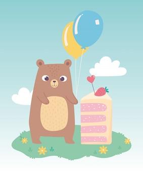 Joyeux anniversaire, ours mignon avec morceau de gâteau et dessin animé de décoration de célébration de ballons