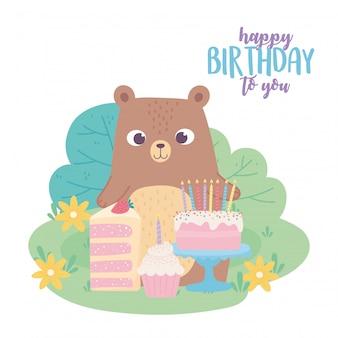Joyeux anniversaire, ours mignon avec tarte au gâteau et dessin animé de décoration de célébration cupcake