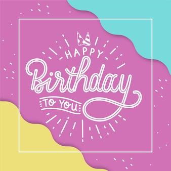 Joyeux anniversaire plat pour vous lettrage