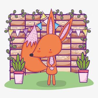 Joyeux anniversaire de renard mignon avec bannière