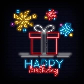 Joyeux anniversaire signe au néon design moderne tendance nuit nuit enseigne nuit lumineuse publicité bannière lumière light art. illustration vectorielle