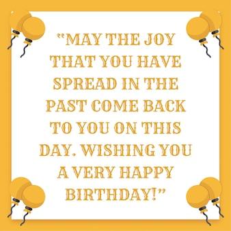 Joyeux anniversaire souhaite fond en couleur jaune