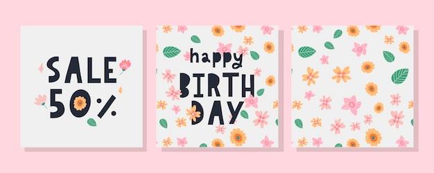 Joyeux Anniversaire Texte Fleurs Lettre Vacances Bannière Carte Célébration Vecteur Premium