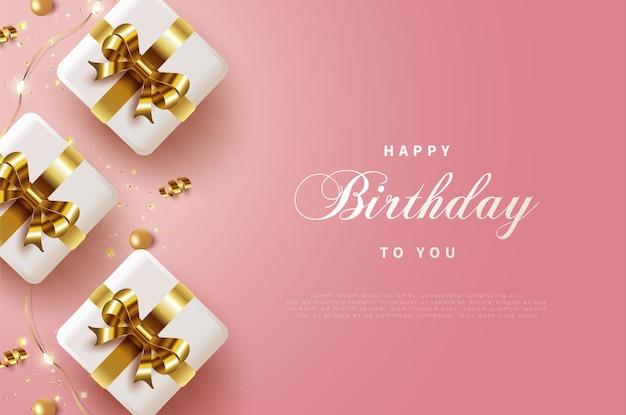 Joyeux anniversaire avec trois coffrets cadeaux ruban d'or