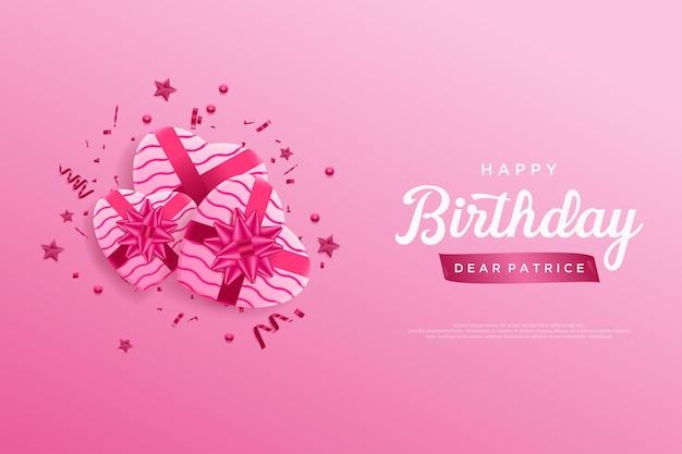 Joyeux anniversaire avec trois coffrets cadeaux en ruban rose