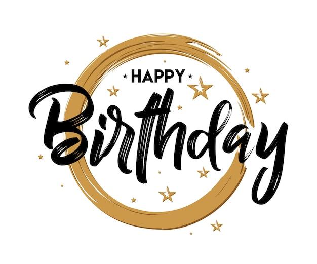 Joyeux anniversaire - typographie vintage - manuscrite, lettrage à la brosse, pour salutation