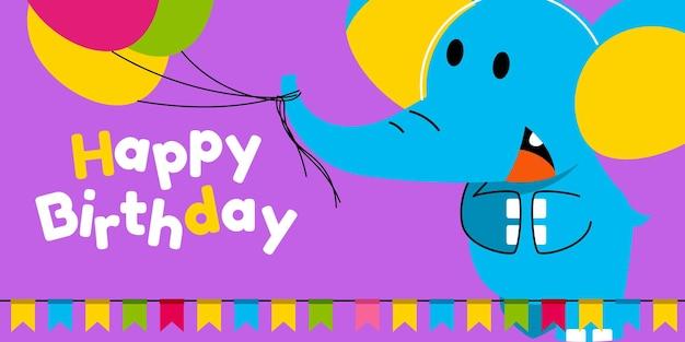 Joyeux anniversaire, vacances, carte de voeux et d'invitation de fête de naissance avec un animal mignon