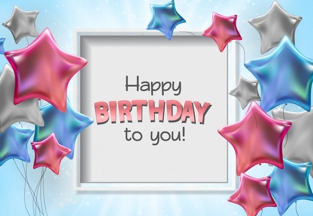 Joyeux anniversaire à votre carte de voeux avec des ballons glacés de couleur