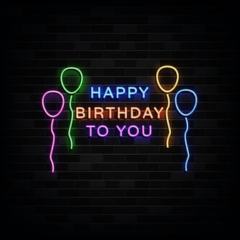 Joyeux anniversaire à vous les enseignes au néon. modèle de conception de style néon