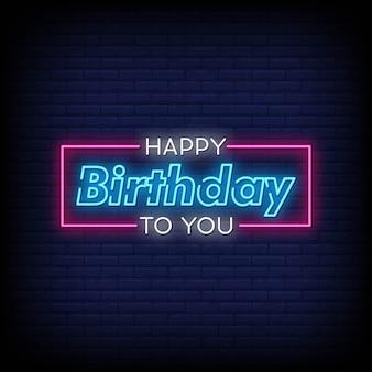 Joyeux anniversaire à vous neon style style