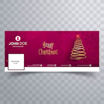 Joyeux arbre de noël avec un modèle de bannière de couverture facebook