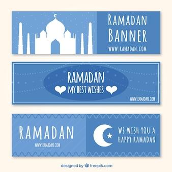 Joyeux bannière bleue ramadan
