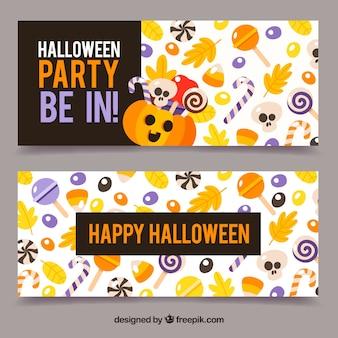 Joyeux bannière d'halloween avec des bonbons