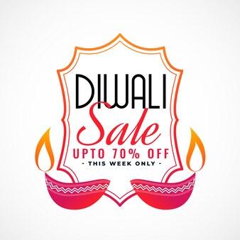 Joyeux bannière de vente de diwali avec diya décoratif