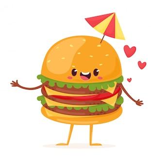 Joyeux burger multicouche xxxl avec parapluie. illustration en style cartoon plat.