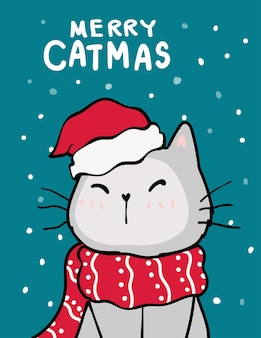 Joyeux catmas, carte de voeux de noël, chat vilain mignon avec chapeau de père noël rouge, chutes de neige sur fond bleu profond, contour doodle main dessiner à plat.