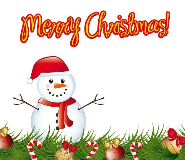 Joyeux chrismtas carte avec illustration vectorielle de bonhomme de neige et guirlande