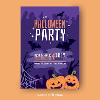 Joyeux citrouilles halloween party flyer