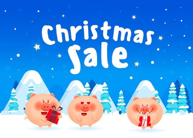Joyeux cochons gras avec des coffrets cadeaux