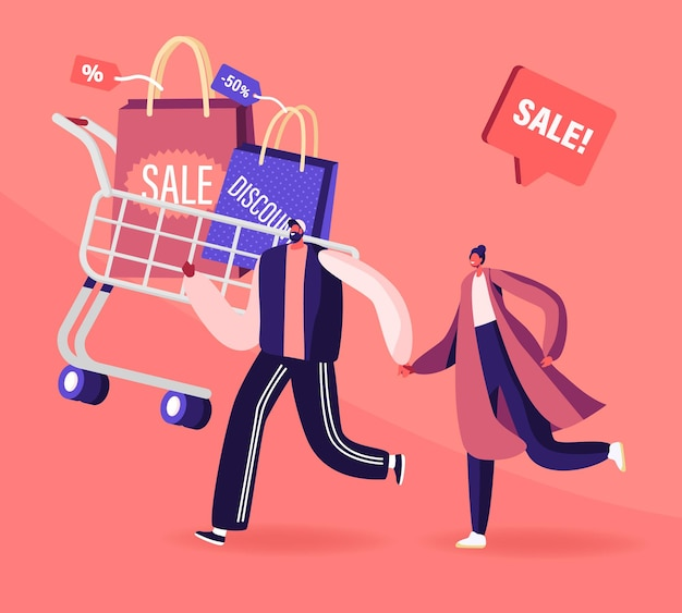 Joyeux couple accro du shopping avec chariot plein d'achats et de cadeaux. illustration plate de dessin animé