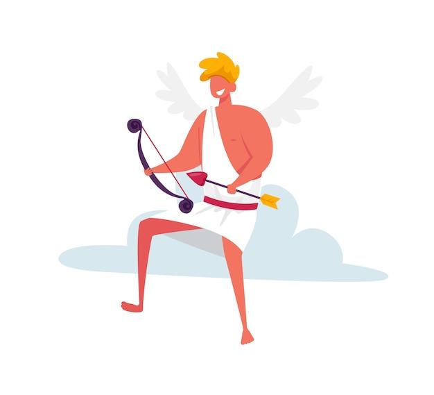 Joyeux cupidon avec des ailes portant du toga blanc assis sur un nuage dans le ciel