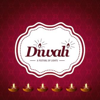 Joyeux design créatif de diwali avec fond rouge et typographie