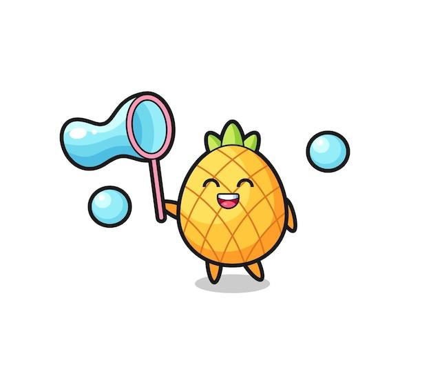 Joyeux dessin animé d'ananas jouant à la bulle de savon, design de style mignon pour t-shirt, autocollant, élément de logo