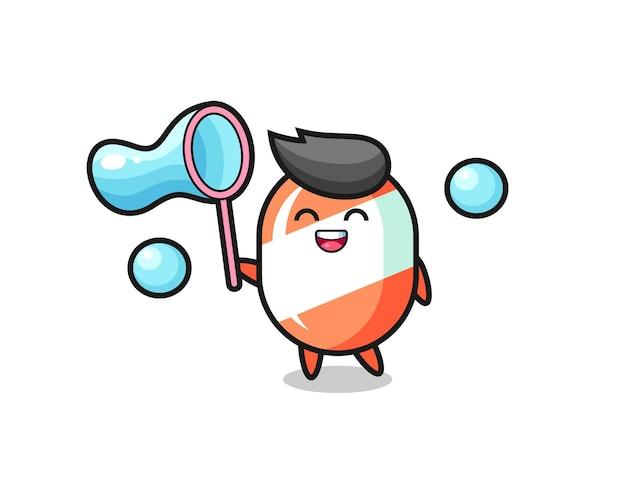 Joyeux dessin animé de bonbons jouant à la bulle de savon, design de style mignon pour t-shirt, autocollant, élément de logo