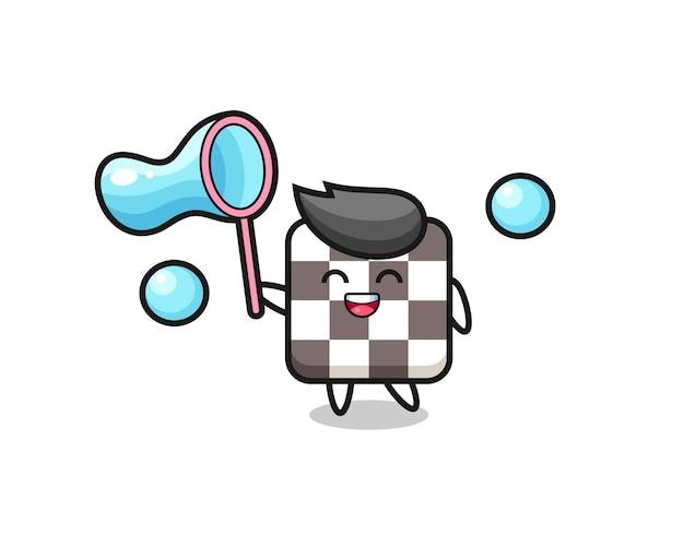 Joyeux dessin animé d'échiquier jouant à la bulle de savon, design de style mignon pour t-shirt, autocollant, élément de logo