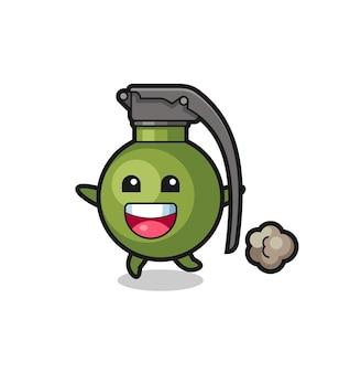 Le joyeux dessin animé de grenade avec pose en cours d'exécution, design de style mignon pour t-shirt, autocollant, élément de logo