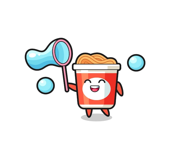 Joyeux dessin animé de nouilles instantanées jouant à la bulle de savon, design de style mignon pour t-shirt, autocollant, élément de logo