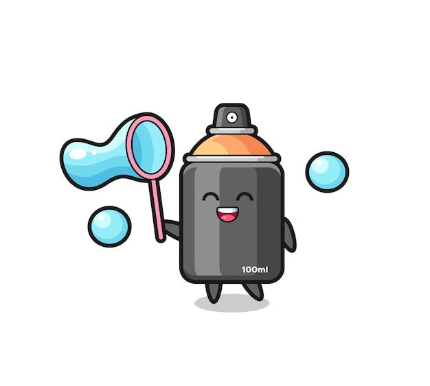 Joyeux dessin animé de peinture en aérosol jouant à la bulle de savon, design de style mignon pour t-shirt, autocollant, élément de logo