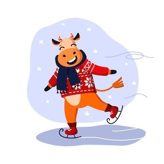 Joyeux dessin animé taureau patinage sur glace vector illustration eps