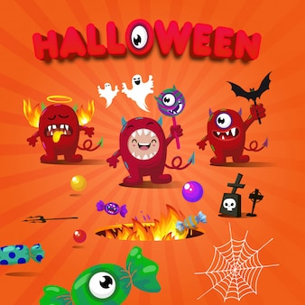 Joyeux diable caractère terreur halloween