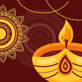 Joyeux diwali affiche du festival plat