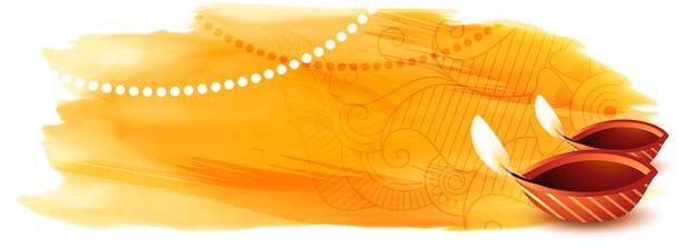 Joyeux diwali bannière aquarelle avec espace de texte