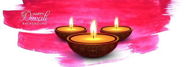 Joyeux diwali bannière colorée de festival indien traditionnel