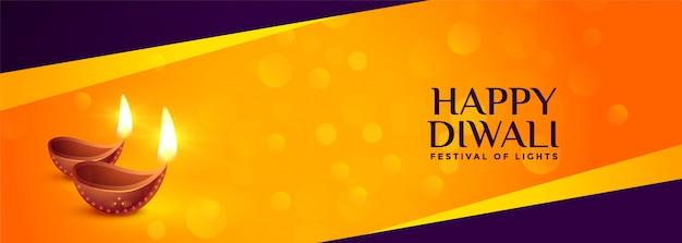 Joyeux diwali bannière de fête traditionnelle avec diya