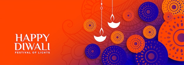 Joyeux diwali bannière lumineuse avec décoratif