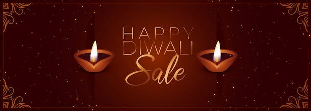 Joyeux diwali bannière de vente du festival de couleur marron