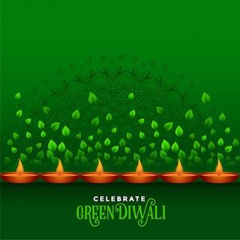 Joyeux diwali célébration fond vert d'eco