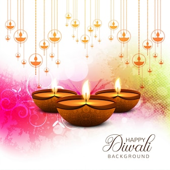 Joyeux diwali diya huile fond de carte de festival fond