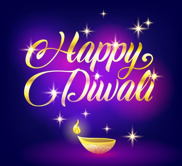 Joyeux diwali doré avec étoiles sur fond noir