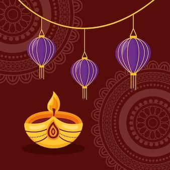 Joyeux diwali festival affiche design plat