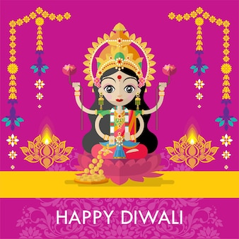 Joyeux diwali festival carte avec diya et déesse hindoue lakshmi