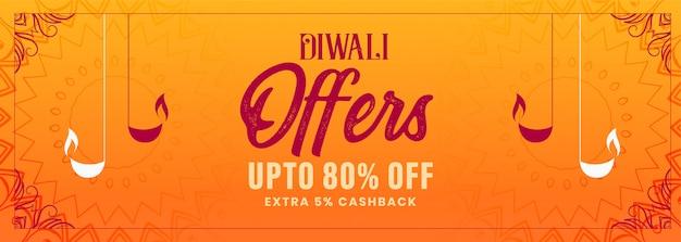 Joyeux diwali festival offre bannière décorative orange