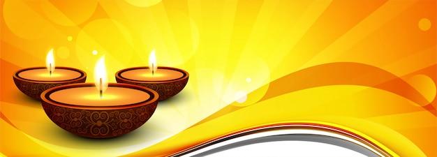 Joyeux diwali hindou festival bannière fond décoratif