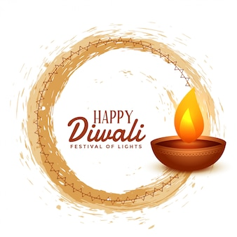 Joyeux diwali hindou festival carte illustration