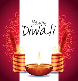 Joyeux diwali indian celebration design