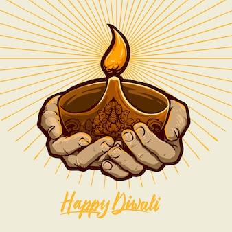 Joyeux diwali mains avec flamme